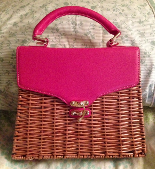 pink wicker bag