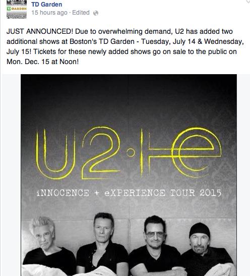 more u2 dates added