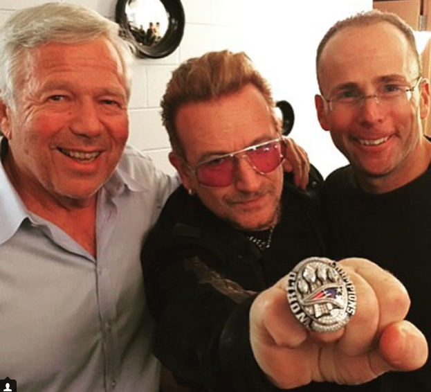 Robert Kraft and Bono wearing Patriots Super Bowl ring!