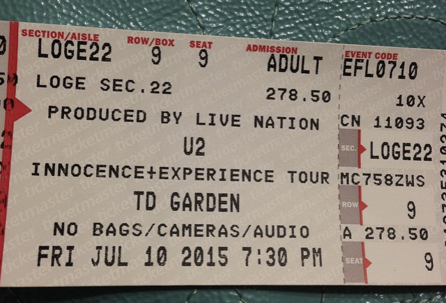 u2 ticket july 10, 2015