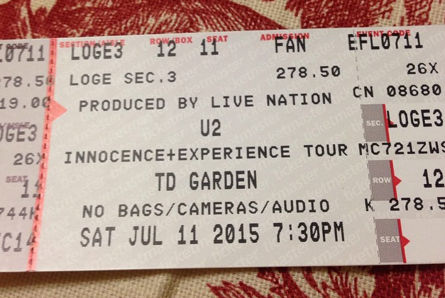 u2 night two boston ticket