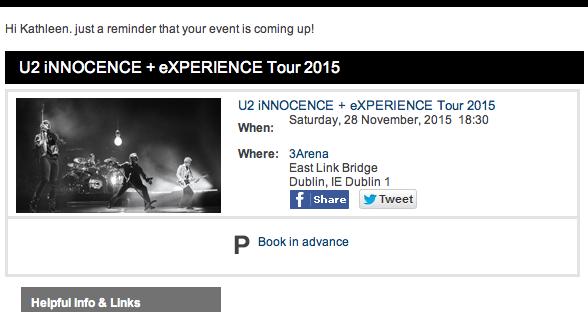 U2 November 28th Reminder