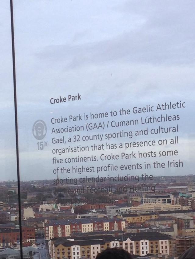 croke park view from gravity bar
