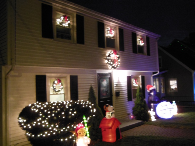 house wreaths and lights