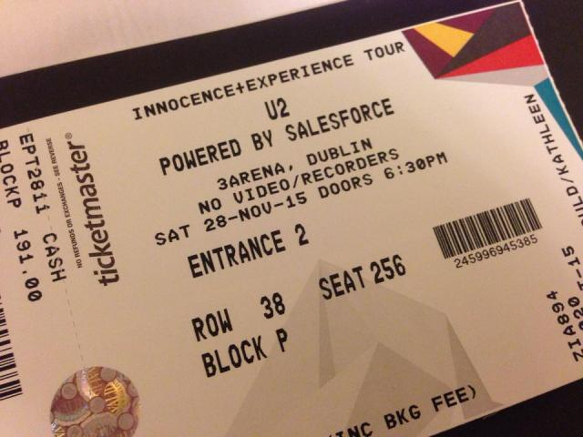 u2 november 28, 2015 ticket