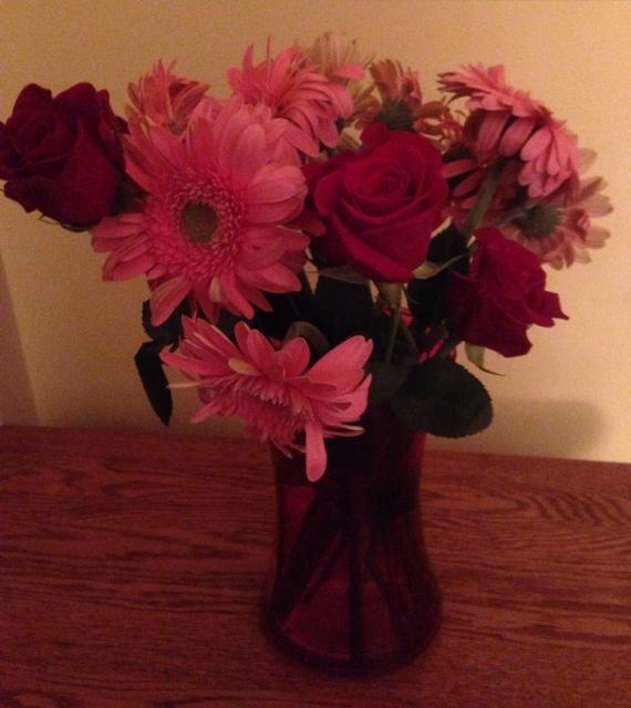 roses and gerber daisies